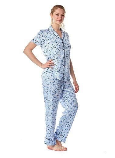 Pamuk & Pamuk Kadın Mavi Çiçekli Biyeli Gömlek Pijama Takımı Mavi